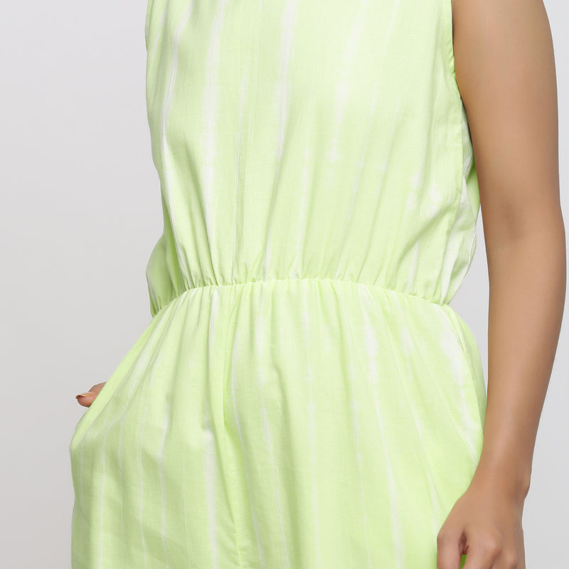 Front Detail of a Model wearing Mint Green Hand Tie Dyed Straight Jumpsuit