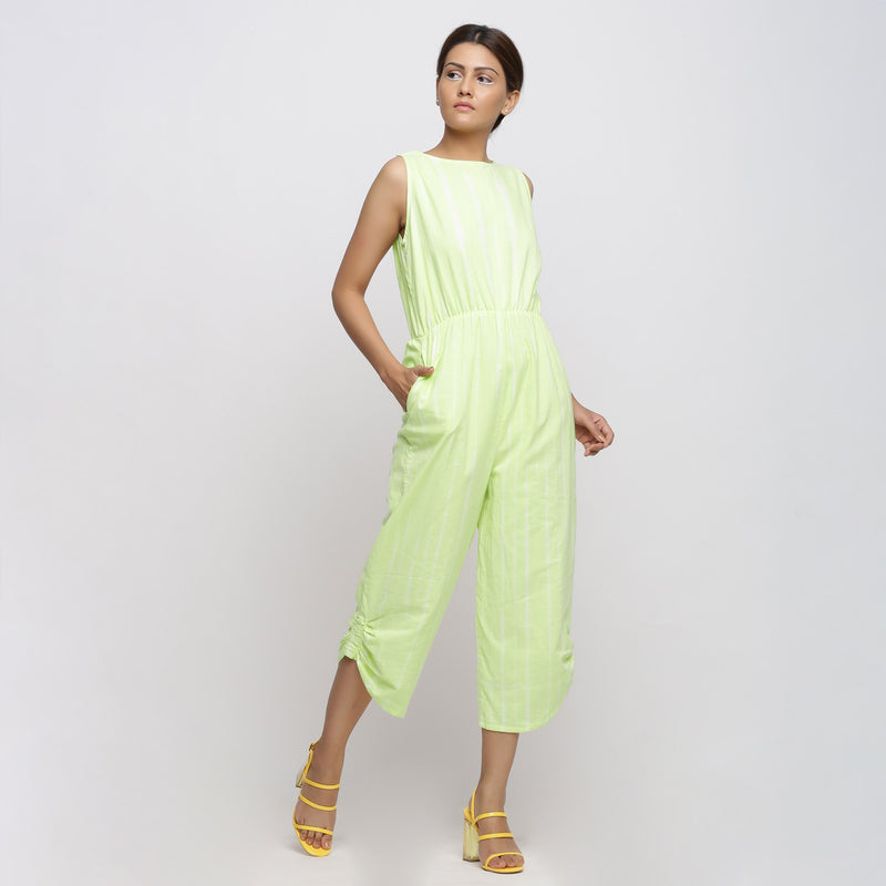 Front View of a Model wearing Mint Green Hand Tie Dyed Straight Jumpsuit
