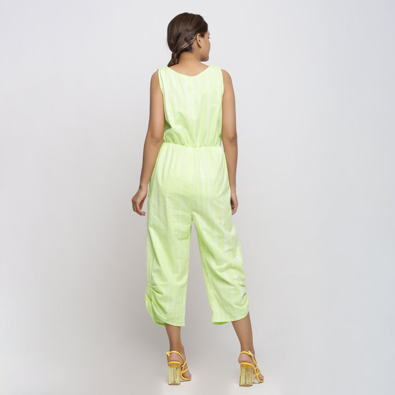 Back View of a Model wearing Mint Green Hand Tie Dyed Straight Jumpsuit