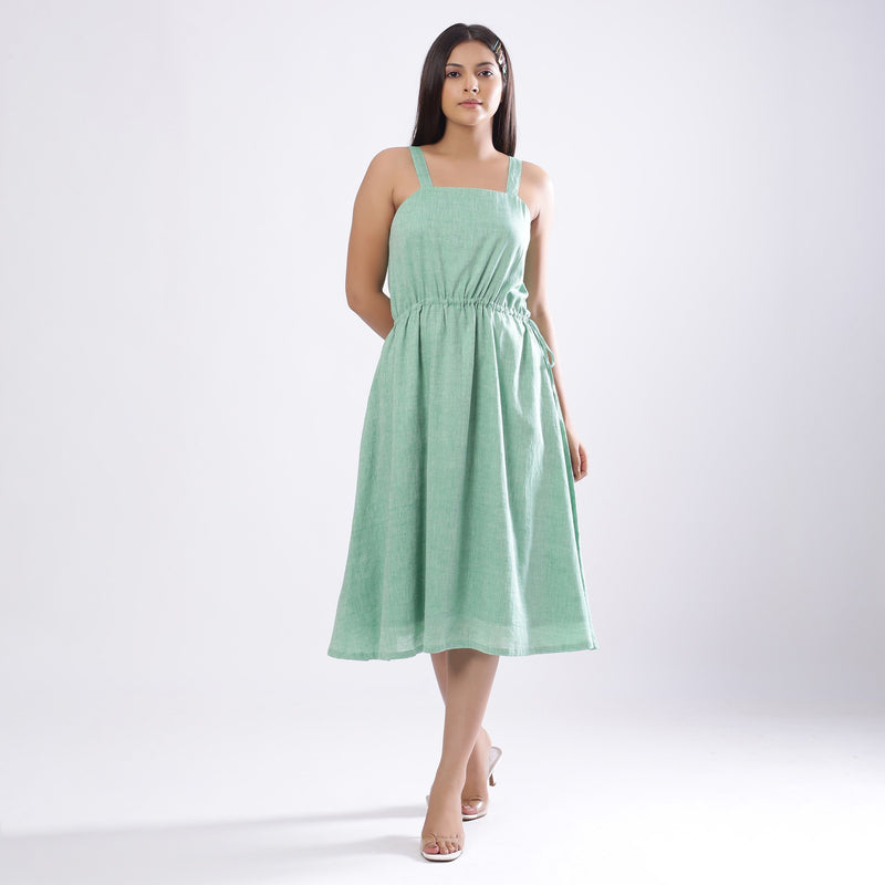Front View of a Model wearing Green Handspun Strappy Circular Dress