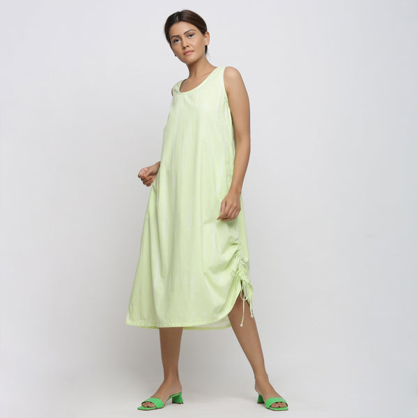 Left View of a Model wearing Mint Green Tie And Dye A-Line Dress
