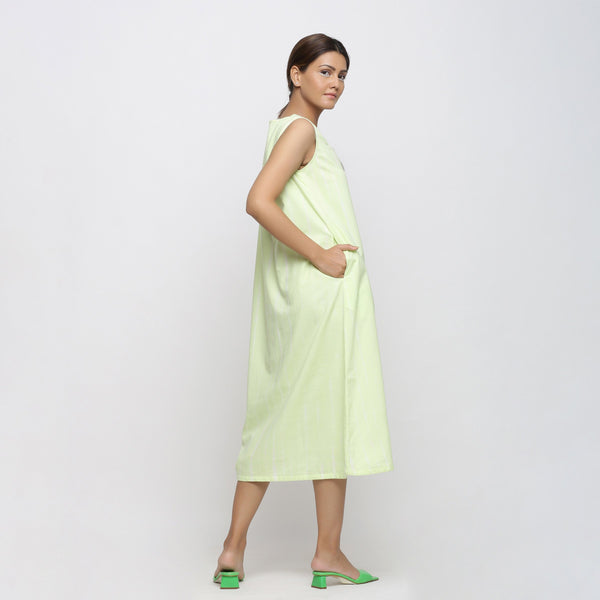Back View of a Model wearing Mint Green Tie And Dye A-Line Dress