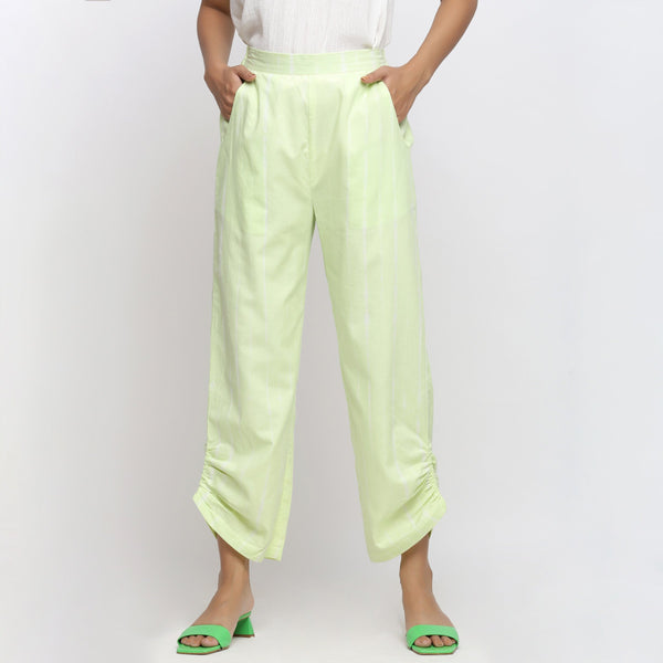Front View of a Model wearing Mint Green Tie And Dye Straight Pant