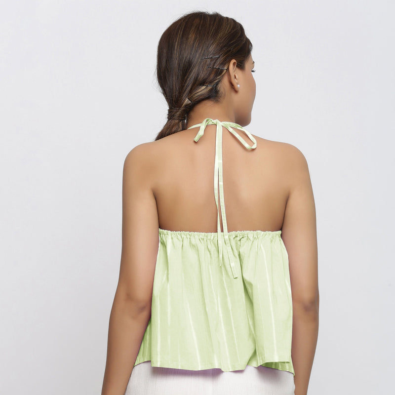 Back View of a Model wearing Mint Green Tie Dye Strappy Camisole Top