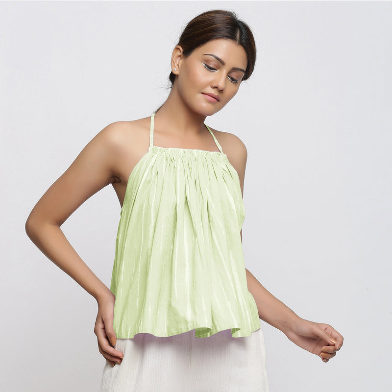 Front View of a Model wearing Mint Green Tie Dye Strappy Camisole Top