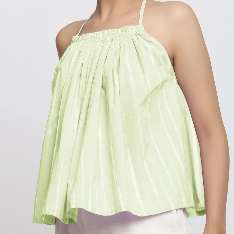 Front Detail of a Model wearing Mint Green Tie Dye Strappy Camisole Top