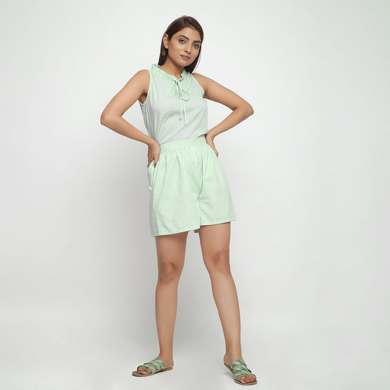 Front View of a Model wearing Sassy Mint Green Top and Mid-Rise Shorts Set