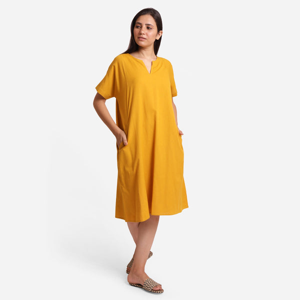 Front View of a Model wearing Mustard Cotton Flax Anti-Fit Dress