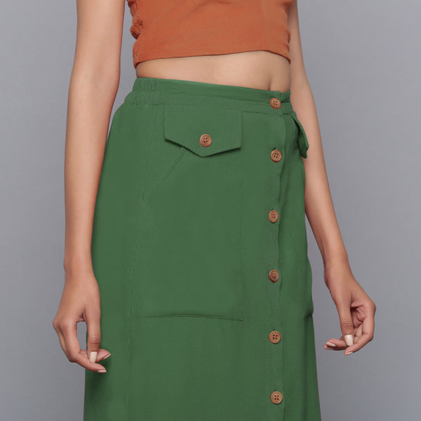 Front Detail of a Model wearing Moss Green Button-Down Midi Skirt