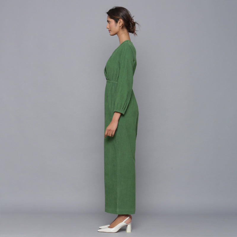 Left View of a Model wearing Moss Green Corduroy Comfy Jumpsuit