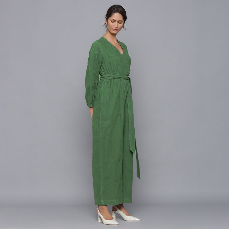 Right View of a Model wearing Moss Green Corduroy Comfy Jumpsuit