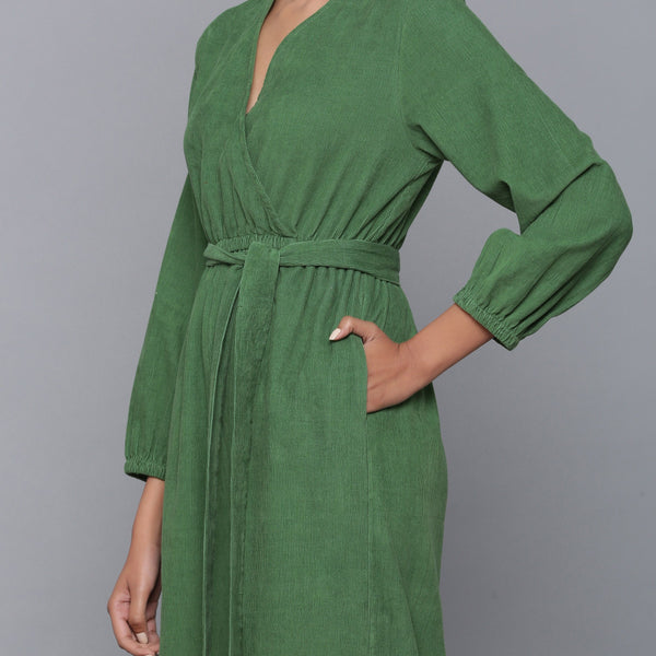 Left Detail of a Model wearing Moss Green Corduroy Comfy Jumpsuit