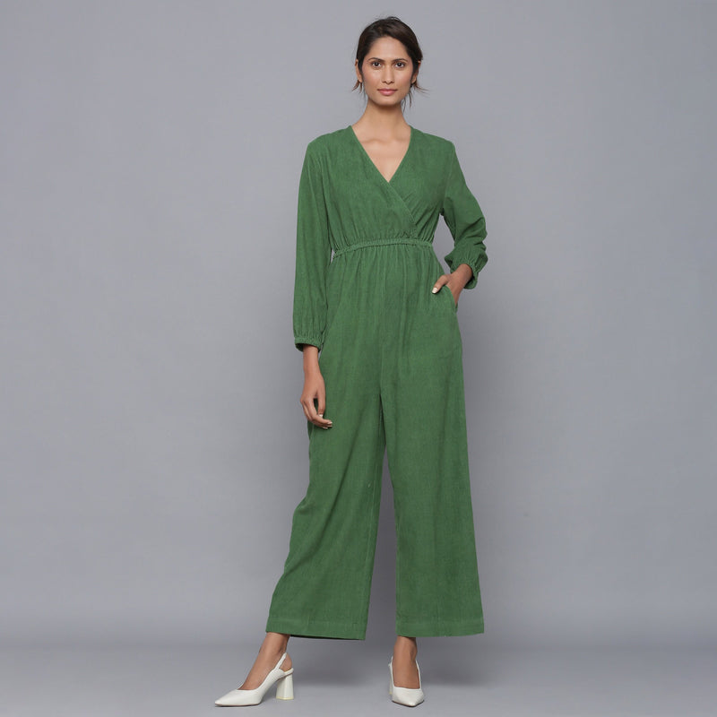Front View of a Model wearing Moss Green Corduroy Comfy Jumpsuit