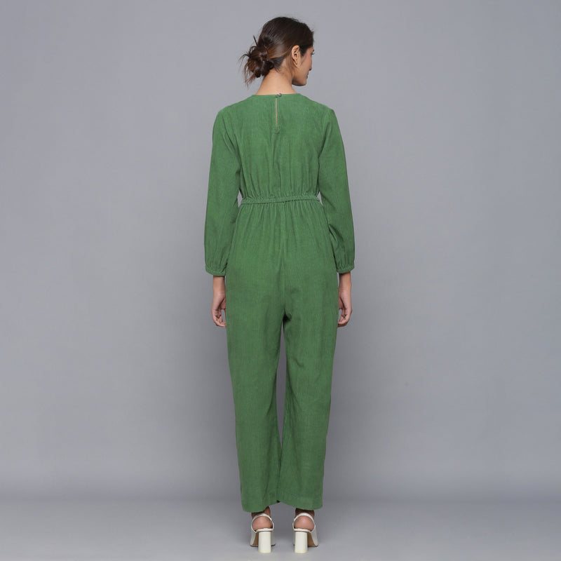 Back View of a Model wearing Moss Green Corduroy Comfy Jumpsuit