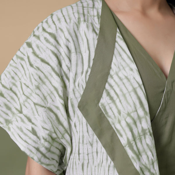 Front Detail of a Model wearing Moss Green Shibori Front Open Overlay