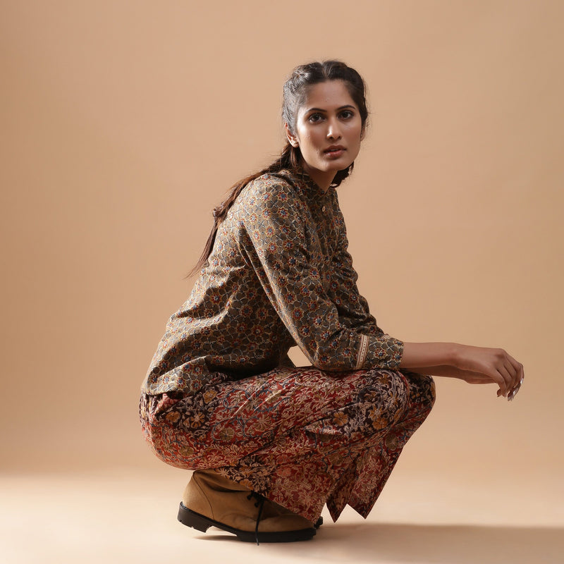 Muddy Red Wide-Leg Kalamkari Slit Pant