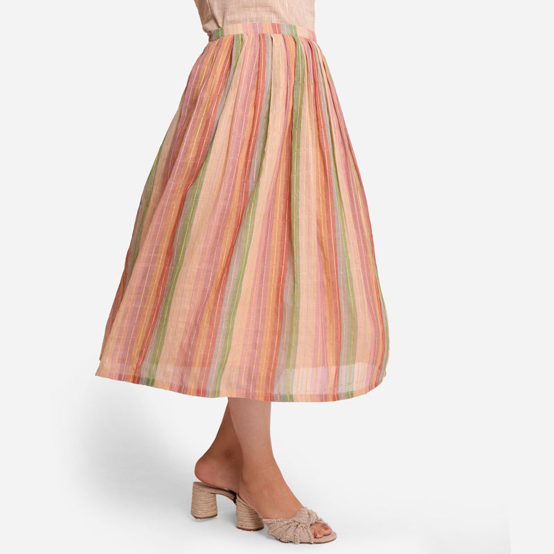 Right View of a Model wearing Multicolor Cotton Striped Pleated Skirt