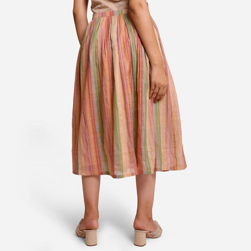 Back View of a Model wearing Multicolor Cotton Striped Pleated Skirt