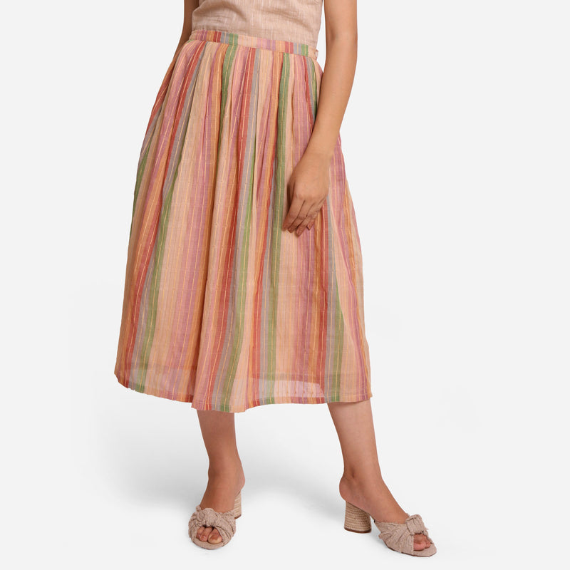 Front View of a Model wearing Multicolor Cotton Striped Pleated Skirt