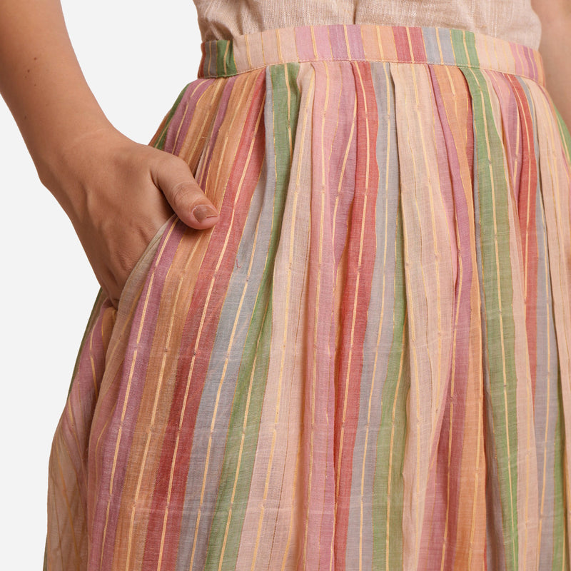 Front Detail of a Model wearing Multicolor Cotton Striped Pleated Skirt