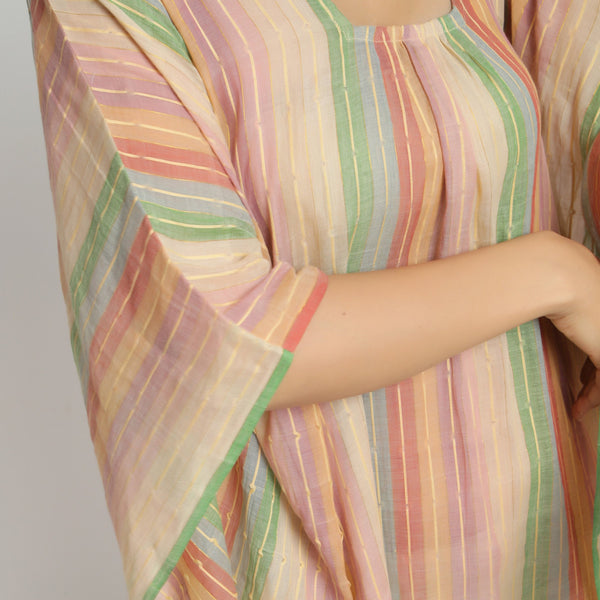 Front Detail of a Model wearing Multicolor Handwoven Kaftan Dress