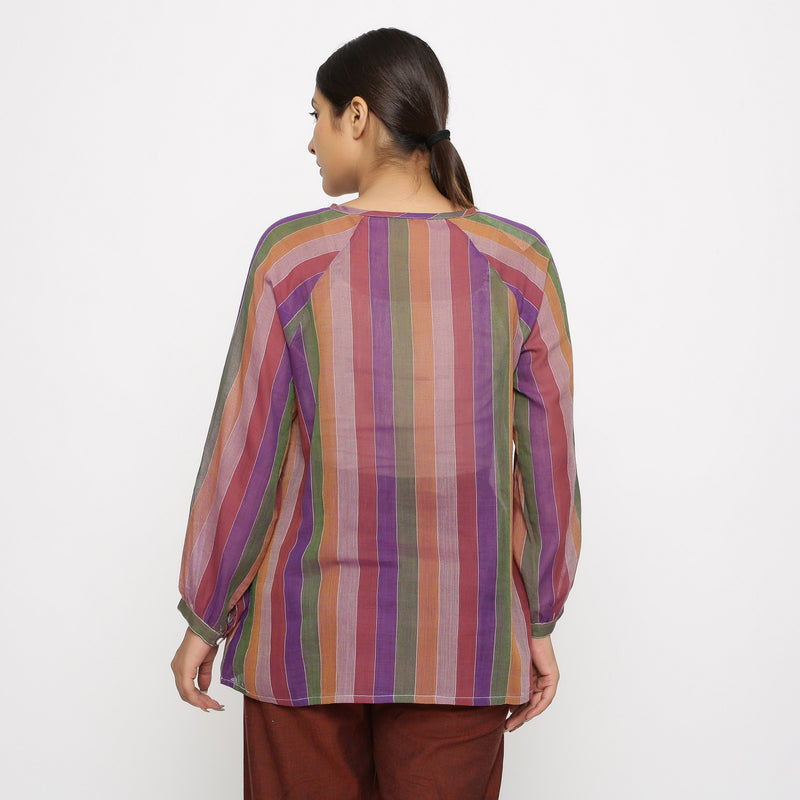 Back View of a Model wearing Multicolor Handwoven Cotton Peasant Top