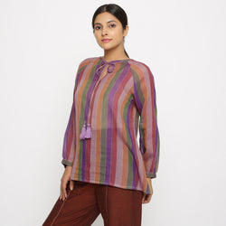 Left View of a Model wearing Multicolor Handwoven Cotton Peasant Top