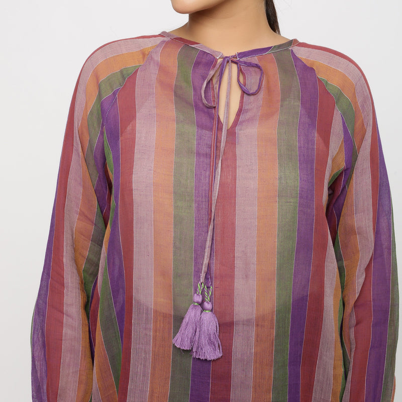 Front Detail of a Model wearing Multicolor Handwoven Cotton Peasant Top