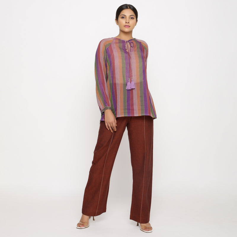 Front View of a Model wearing Multicolor Handwoven Cotton Peasant Top