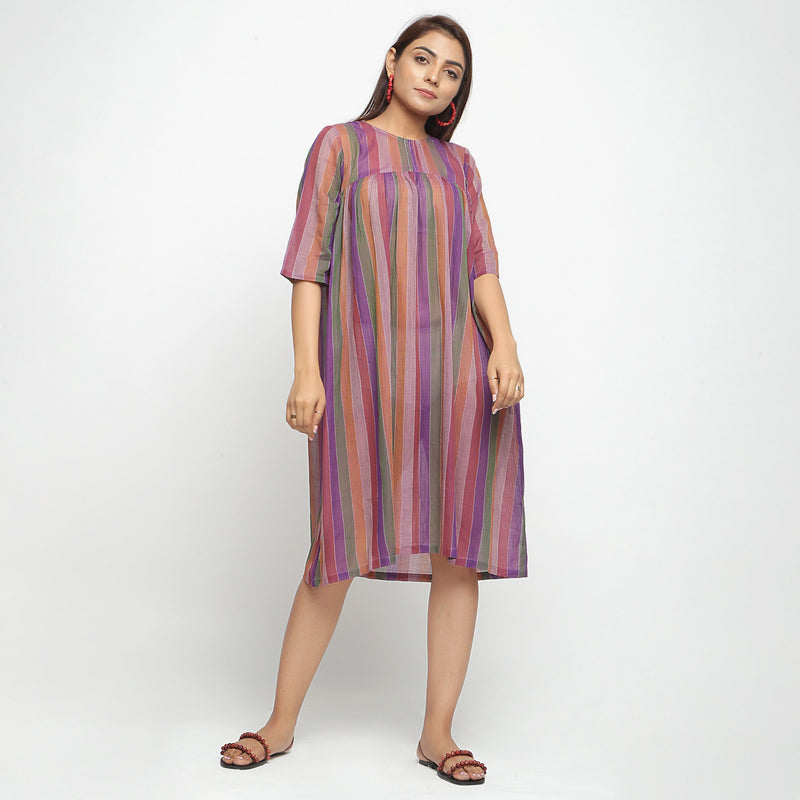 Front View of a Model wearing Multicolor Handwoven Gathered Dress