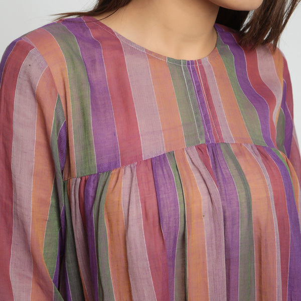 Front Detail of a Model wearing Multicolor Handwoven Gathered Dress