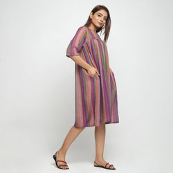 Right View of a Model wearing Multicolor Handwoven Gathered Dress