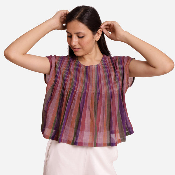 Front View of a Model wearing Multicolor Stripes Handwoven Cotton Top