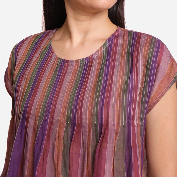Front Detail of a Model wearing Multicolor Stripes Handwoven Pleated Top