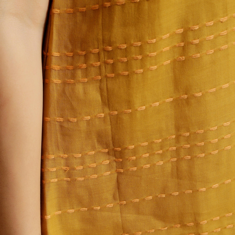 Close View of a Model wearing Mustard Handwoven Cotton U-Neck Straight Top