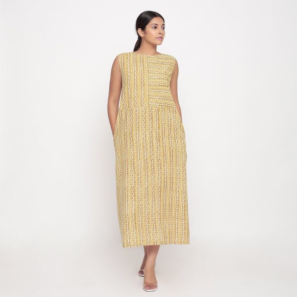 Front View of a Model wearing Bagru Block Print Sleeveless Maxi Dress