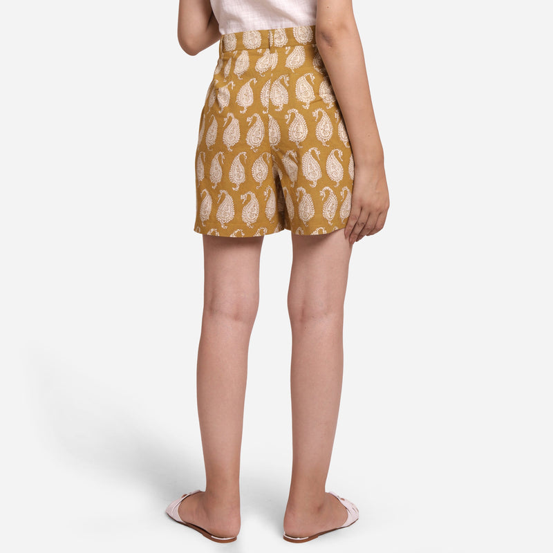 Back View of a Model wearing Mustard Paisley Straight Short Shorts