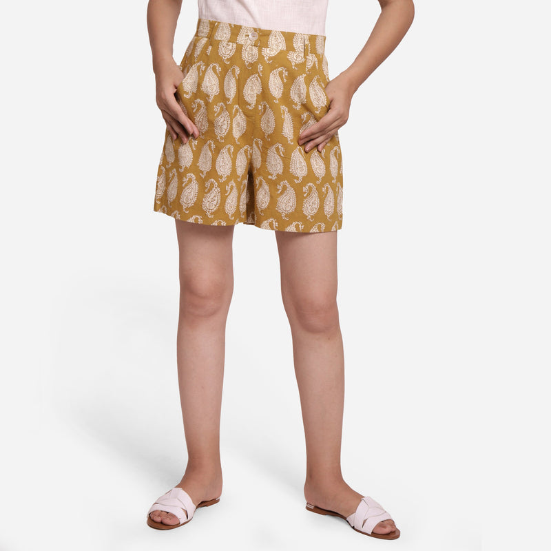 Front View of a Model wearing Mustard Paisley Straight Short Shorts