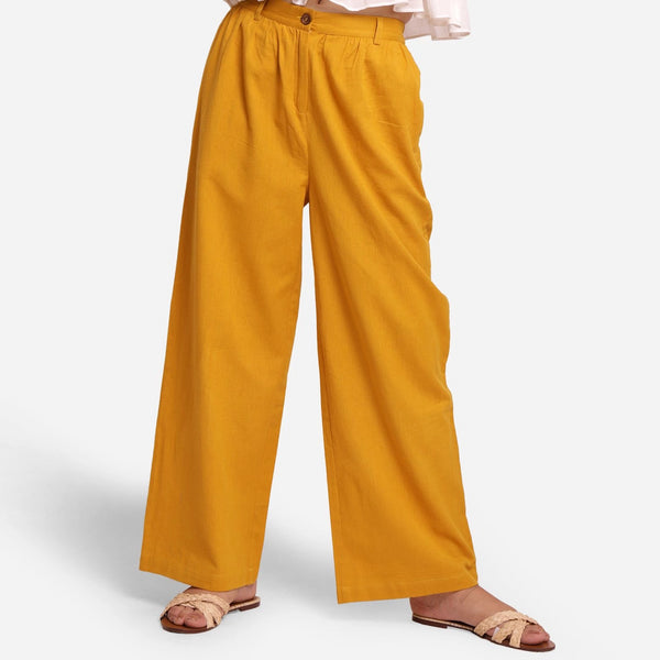 Front View of a Model wearing Cotton Flax Wide Legged Straight Pant