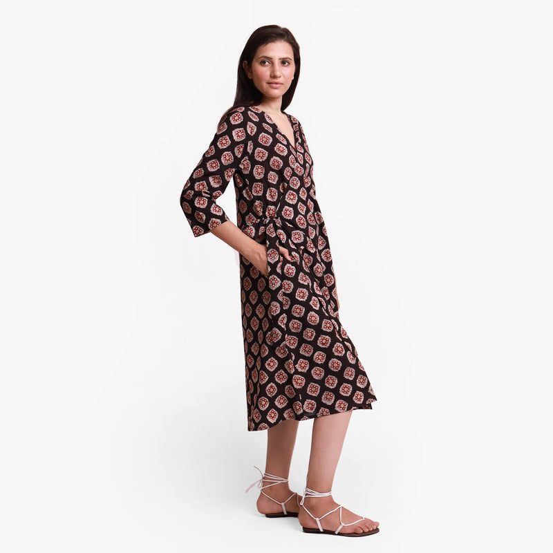 Right View of a Model wearing Natural Dyed Bagru Printed Wrap Dress