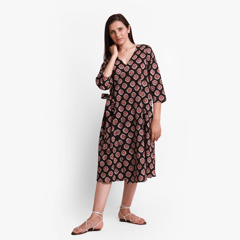 Front View of a Model wearing Natural Dyed Bagru Printed Wrap Dress
