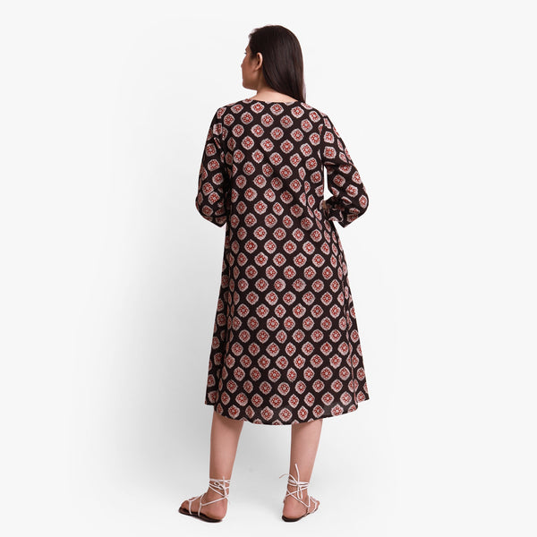 Back View of a Model wearing Natural Dyed Bagru Printed Wrap Dress