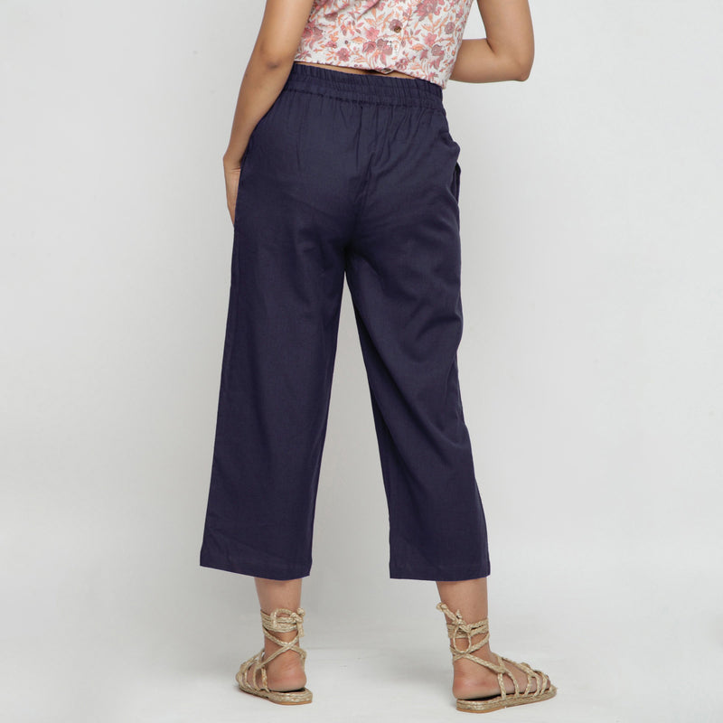 Back View of a Model wearing Navy Blue Comfy Cotton Flax Culottes