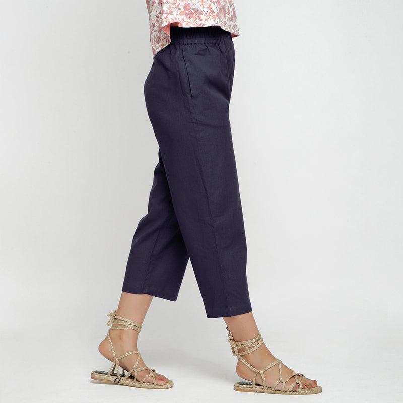 Right View of a Model wearing Navy Blue Comfy Cotton Flax Culottes