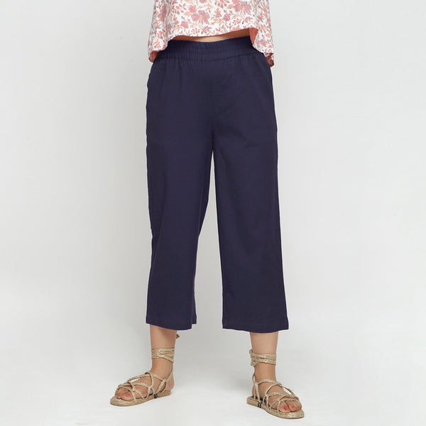 Front View of a Model wearing Navy Blue Comfy Cotton Flax Culottes