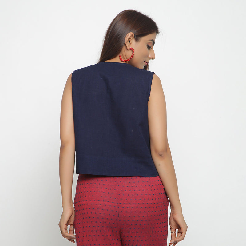 Back View of a Model wearing Navy Blue Cotton Flax Button-Down Shirt