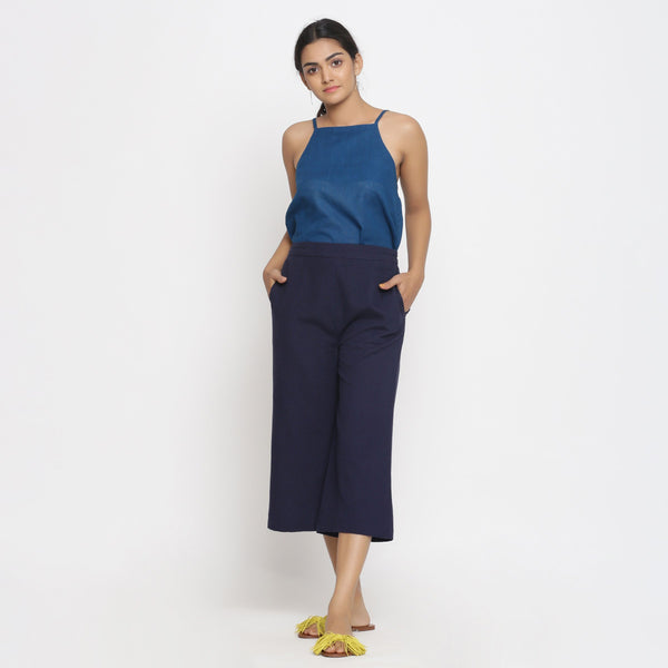 Front View of a Model wearing Navy Blue Cotton Flax Culottes