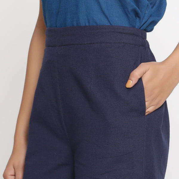 Left Detail of a Model wearing Navy Blue Cotton Flax Culottes