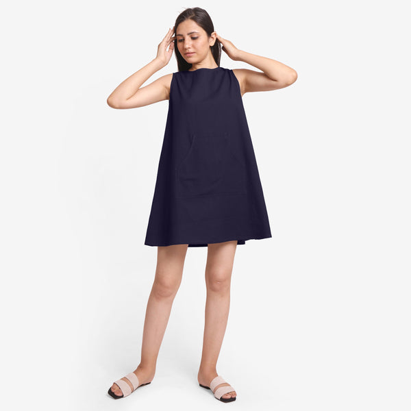 Front View of a Model wearing Navy Blue Cotton Flax Kangaroo Pocket Dress