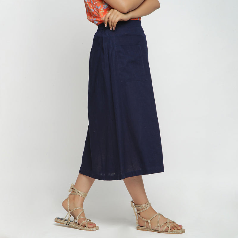 Right View of a Model wearing Navy Blue Cotton Flax A-Line Skirt